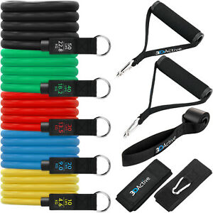 3DActive Resistance Bands Set for Home Gym Workouts Strength Training Full-Body