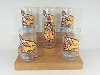 Vintage Lot of 6 McDonalds 1977 Glasses   5 Action Series &  1 Collector series