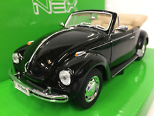 Volkswagen Beetle Black Convertible Welly 22091 Scale 1:24-27