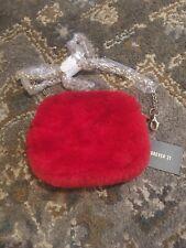 Forever 21 Cosmetic Bag Plush Red Faux Fur Clutch 7 X 5 Wristlet Shoulder Bag