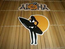 (2) Sticker Set : Sunset Surfer Girl W/ Surfboard & Aloha With Hibiscus Flower