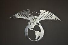 """EAGLE ON GLOBE"" Custom CNC plasma cut metal sign wall art 20 X 29 made in USA"
