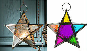 Glass star lantern tea-light holder clear or multi coloured-20cm