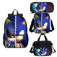Sonic the Hedgehog kids Backpack Set Schoolbag Insulated Lunch Bag Pen Case Lot