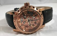 LOUIS RICHARD MENS AUTOMATIC SKELETON WATCH ROSE GOLD / BLACK LEATHER