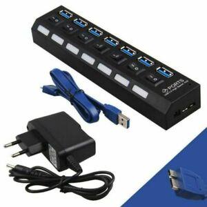 HUB 7 PORTS MULTIPRISE MULTI CHARGEUR CABLE USB 3.0 POUR ORDINATEUR PC MAC Linux