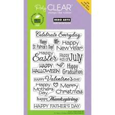 Holiday Card Sentiments Poly Clear Acrylic Stamp Set by Hero Arts CL498 NEW!