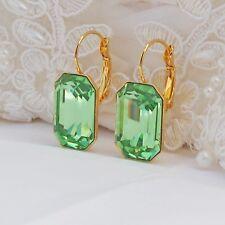 "Elements Bridal Green Gold Rectangle Peridot Earrings Crystallizedâ""¢ Swarovski"