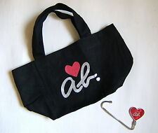 New JAPAN Agnes B Black Shiny Red Heart Mini Tote Lunch Bag w Metal Holder LIMIT