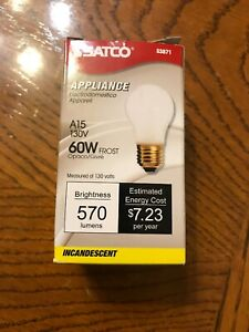 (1) NEW - SATCO S3871 60W A15 130V FROSTED INCAND APPLIANCE BULB E26 BASE