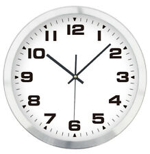 Funk Wanduhr DCF Funkuhr Analog Uhr Ø 30cm Alu Rahmen Weiß 400341
