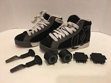 Heelys Boy's 13C  Black, White & Gray pre-owned Complete hardly used.