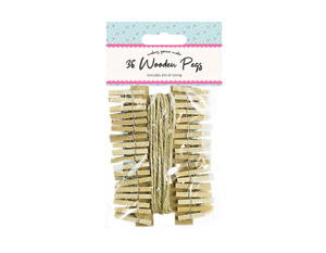 36 Mini Wooden Pegs with 2M Of String Photos Notes Cards Craft Micro UK