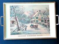 Currier & Ives Handled Metal Tray HOMESTEAD WINTER VTG Nascho Products FREE SH