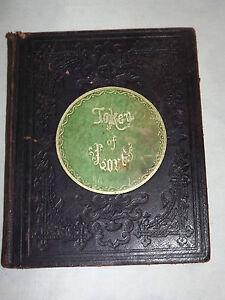 VINTAGE 1857 JONESVILLE ACADEMY CLIFTON PARK NY TOKEN  LOVE POEM SIGNATURE BOOK