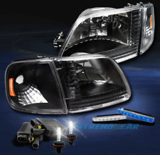 1997-2003 F150/2002 EXPEDITION BLACK/AMBER CRYSTAL HEAD LIGHT W/BLUE DRL LED+HID