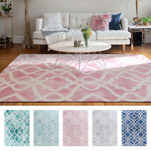 Large Floor Rugs Teal Blue Pink Grey Plush Area Rug Geometric Lounges Carpet Mat