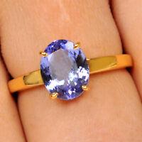 585er Gelbgold 1,30Ct 100% natürliche blaue Tansanit Ovale Form Verlobungsring