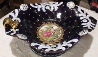 Vintage Cobalt Royal Blue Gold Fragonard Love Story Footed Bowl
