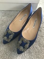 NUOVO CON SCATOLA Manolo Blahnik hangisi Royal Blue Crystal Flats 36.5 UK 3.5