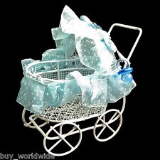 White Blue Wire Nursery Baby Stroller Pram 1:12 Doll's House Dollhouse Miniature