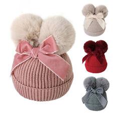 Double Fur Pom Pom Baby Winter Hat for Girls Bows Warm Baby Beanie Kids Cap 1-3Y