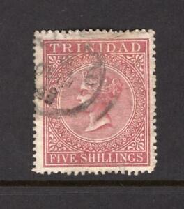 Trinidad 1869 QV 5 Shillings - Used - SC# 56  Cats $90.00   No Reserve!