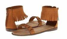 New with box Minnetonka Big Girl's Nikita Fringe Sueded Sandals Brown Size 4