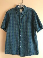 L.L. Bean Men's Large Short Sleeve Slightly Fitted 100% Cotton Blue Plaid Shirt