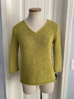 J JILL Women's Small Sweater Yellow Green 3/4 Sleeves V-Neck Textured