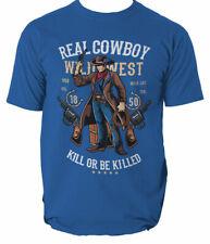 Real Cowboy mens t shirt West American Cowboys Wild Sheriff Gunslinger S-3XL