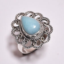 925 Sterling Silver Ring Size UK N 1/2, Larimar Handcrafted Women Jewelry CR4333
