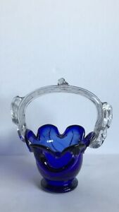 Vintage Cobalt Blue Crystal Glass Posy Basket/Dish With Clear Handle.