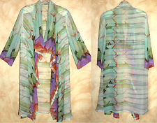 Zonda Nellis - Sz S M Hand-Dyed Silk Artist to Wear Amazing Flowing Coat Jacket