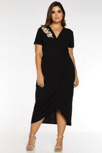 NEW Quiz Curve Wrap Front Embellished Midi Dress