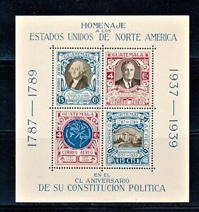 GUATEMALA 1938 150th ANNIV. OF US CONSTITUTION  (2) S/S SCOTT C92 MNH & CTO