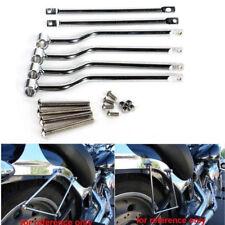 Chrome Saddle Bag Support Bars Mounts Brackets for Harley Honda Yamaha Suzuki