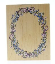 Stampendous Oval Ribbon Frame R044 disty flower Wooden Rubber Stamp