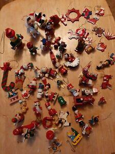 VINTAGE TRUE Retro GENUINE Wooden Christmas Tree Decorations MASSIVE BUNDLE XMAS
