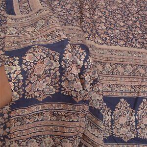 Sanskriti Vintage Deep Blue Sarees Pure Silk Printed Indian Sari Craft Fabric