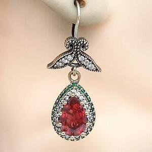 Deco 7.80ctw Ruby, Emerald & Diamond Cut Sapphire 14K Yellow Gold 925 Earrings