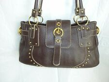 MAXX New York Leather Studded Gold tone Buckle Excellent Satchel handbag