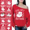 Ugly Christmas Sweatshirt Off Shoulder Santa Sweaters for Women Ugly Xmas Tops