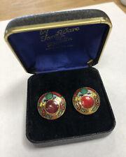 Vintage Tara Ware Dublin Enameled Multicolor Clip Earrings