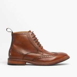 Steptronic BICESTER Mens Autum Classy Leather Lace Up Brogue Ankle Boots Cognac