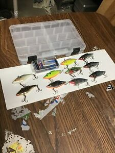 Lot of 11 LIPLESS CRANKBAITS w/ STORAGE BOX Lewis Rat-L-Trap Rapala Rattlin