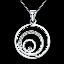 Hot 925 Silver plated Jewelry Crystal Circle Pendants Necklace For Women N705