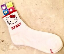 NEW Sanrio Hello Kitty ~ Sport Socks ~ Women's Size 9-11 White with Red/Black