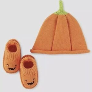 NWT Just One You Carter's Halloween Pumpkin Cap and Booties Baby One Size Orange