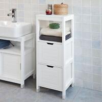 SoBuy FRG127-W Armadietto terra da bagno,Mobiletto salvaspazio, bianco,IT